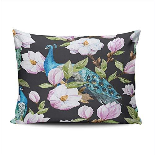 SUN DANCE Funda de cojín para dormitorio, diseño de magnolia, pavo real, diseño de pájaro, color acuarela, 50 x 60 cm