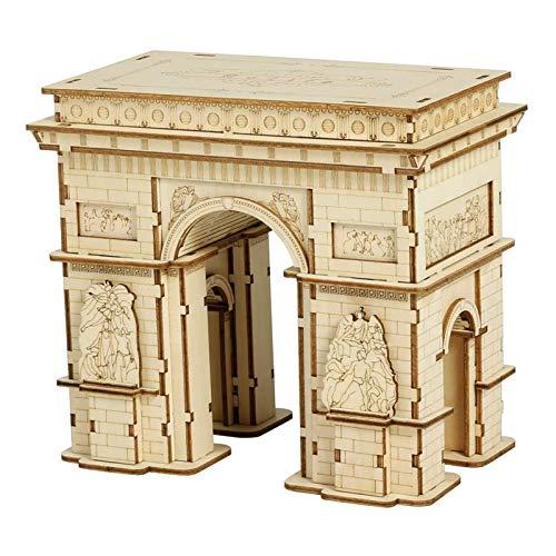 Robotime 3D Kinder Puzzle Holz Modellbausätze Puzzle Brain Teaser Geschenk für Alter 8 (Arc de Triomphe)
