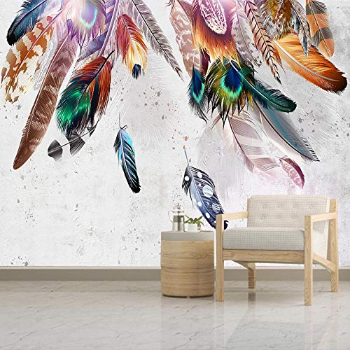 Msrahves fotomurales decorativos pared 3d modernos Color pluma moda creatividad. Pared Mural Foto Papel Pintado Pared Mural Vivero Sofá Tv Pared De Fondo Decoración de Pared decorativos hotel fondo de