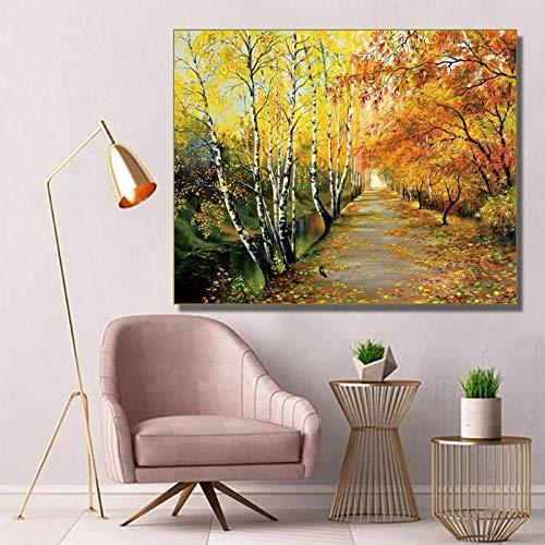 Canvas schilderij kalligrafie herfst bos road poster en printen, muurkunst foto's woonkamer decoratie voor thuis 72 x 90 cm zonder lijst
