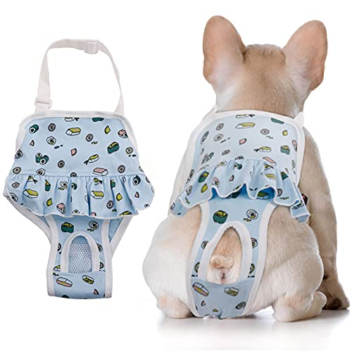 Dog Sanitary Panties with Suspenders,Adjustable Pet Underwear Diaper for Male Female Dogs,Physiological Pants Cotton Jumpsuit Briefs for Teddy Corgi French Bulldog Machine Washable (Small, Blue)