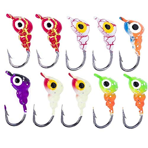 WFIT Ice Fishing Jig Set Young Ants Shaped Ice Hook Crank Jig Head Hooks Fishing Hooks for Pool Lake Ocean Fishing