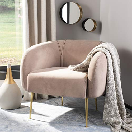 Safavieh Couture Home Alena Mid-Century Pale Mauve and Gold Accent Chair