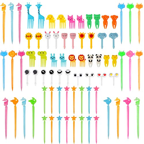 80 Pieces Animal Fruit Food Picks Lunch Bento Box Picks Cute Cartoon Toothpick Mini Cupcake Fork Picks for Cake Dessert Pastry Party Supply