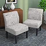 Armless Accent Chairs Set of 2, Upholstered Fabric Dining Living Room Chairs w/Solid Wood Legs for Dining Living Room Sofa, Letter-Print, Beige