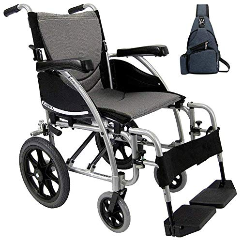 Karman S-115 Ergonomic Transport Wheelchair S-115WB16SS-TP, Extending Push to Lock Manual Brakes & Swing In & Away Footrests 16' W X 17' D Seat Frame Color Silver & FREE Navy Blue Medical Utility Bag!