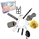 Self Defense Keychain Set for Women with Personal Alarm,Safe Defense Keychain Set Portable Practical Safety Protection Key Chain Defense for Women Leopard