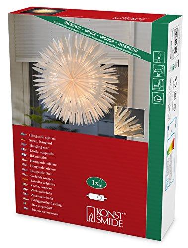 Konstsmide 2938-200 Weißer Papierstern, 60x60cm / für Innen (IP20) / 230V Innen / ohne Leuchtmittel / mit an/aus Schalter / weißes Kabel
