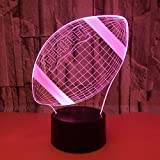 SWNN lámpara de mesa Rugby LED Colorido Gradiente 3D Estéreo Lámpara De Mesa Táctil Control Remoto USB Luz De Noche Escritorio Mesita De Noche Creativos Adornos Decorativos De Regalo