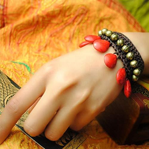 Shability Hermosa Magnífica Gota De Agua Rojo Tur Quoise Jingle Cobre Campanas De Estilo Tailandés Calidad Hilos De Cera Anchos Brazaletes De Joyería Étnica yangain