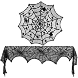 Konsait Halloween Decoration Black Lace Cobweb Spiderweb Fireplace Mantle Scarf Cover Round Lace Table Topper Table Runner Bat Decor for Table Door Window Halloween Decoration Party Supplies