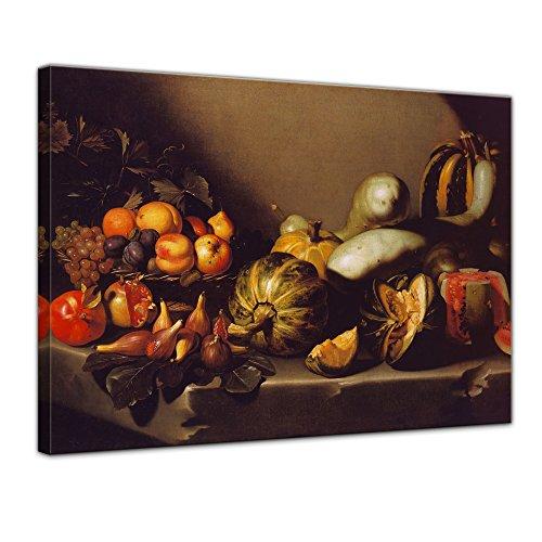 Wandbild Caravaggio Stillleben mit Fruchtschale - 70x50cm quer - Alte Meister Berühmte Gemälde Leinwandbild Kunstdruck Bild auf Leinwand