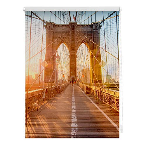 Lichtblick KRT.070.150.362 Rollo Klemmfix, ohne Bohren, Blickdicht, Brooklyn Bridge - Orange 70 x 150 cm (B x L)
