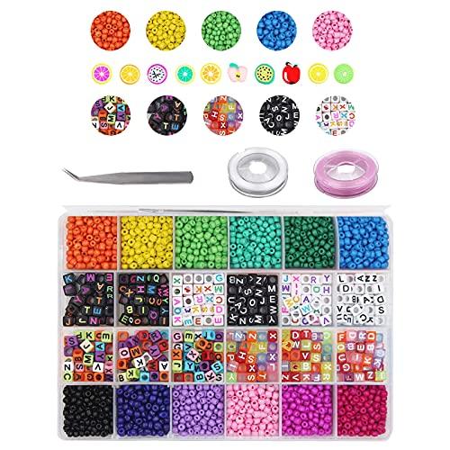 CDIYTOOL 4070 perline per la creazione di gioielli, piccole perline in vetro e perline per lettere e frutta, per fai da te bracciali, collane, gioielli, artigianato