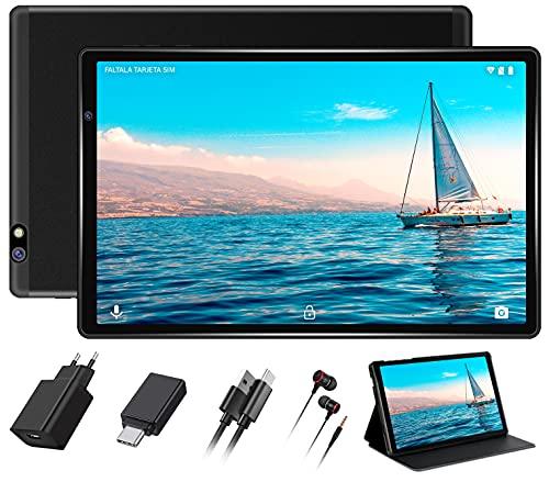 FACETEL Tablet 10 Pulgadas Android 10.0 Tablets 4GB RAM+64GB ROM (TF 128GB) Octa Core, Tablets 5.0+8.0 MP HD la Cámara, Certificación Google GMS, 1280 * 800 Full HD Display | Bluetooth | WiFi-Negro