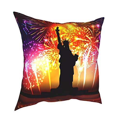 HXJIULI Independence Day Colorful Poster Four Seasons Throw Pillowcase Home Decorative Square Cushion Cover Double-Sided Printing Cozy Throw Pillows Covers 16X16in
