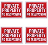 8 Private Property no Trespassing Sign 9 x 12 Inch