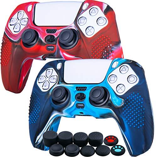 YoRHa Tachonado Silicona Caso Piel Fundas Protectores Cubierta para Sony PS5 Dualsense Mando x 2 (Camuflaje Rojo + Azul) con Pro los puños Pulgar Thumb gripsx 8