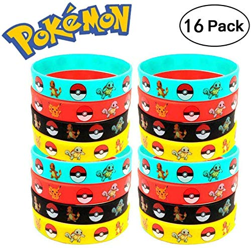 Funmo - 16 Siliconen armband,Zacht,Geen geur,Siliconen armband met Pikachu-logo,Best Gift for Kids
