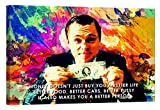 LightFairy Motivational Wall Art for Living Room or Bedroom - Glow in The Dark Canvas Painting - Stretched and Framed Giclee Print - Wolf of Wall Street - 24 x 16 inch
