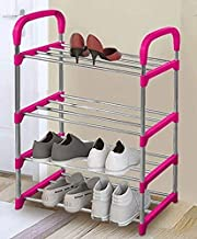 Three Secondz 4 Layers Steel Shoes Rack Stand Storage Organizer Holder Closet - Total 8 Pairs (Pink)