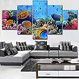 Hbbhbb 5 lienzos artísticos HD decoración de Bajo el Agua, Peces de mar, arrecifes de Coral. HD...