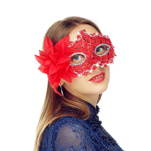 MYMENU Masquerade Mask for Women Shiny Glitter Party mask Venetian mask Lace Eye Masks for Carnival Prom Ball Fancy Dress Party Supplies (Red)