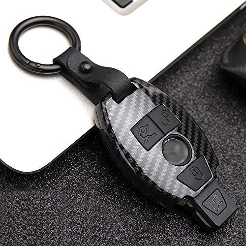 ontto Autoschlüssel Abdeckung Fall Hülle for Mercedes-Benz 2/3 Tasten Kohlefaser Schlüsselschutz mit Schlüsselanhänger Schlüsselbund Fit fürBenz A B C E ML V W R CL CLK Klass W204 W212 Carbon Black B