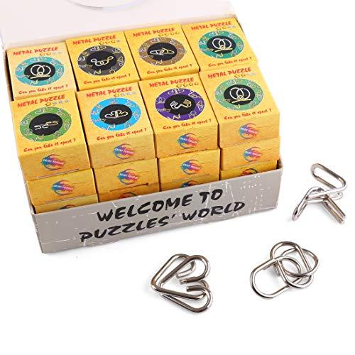 BOROK Rompecabezas Metal, 32Pack 3D Puzzles Adultos Juegos de Ingenio Juegos de Mesa Juego IQ Juguete Educativos Habilidad Juego Logica Calendario de Adviento Niños