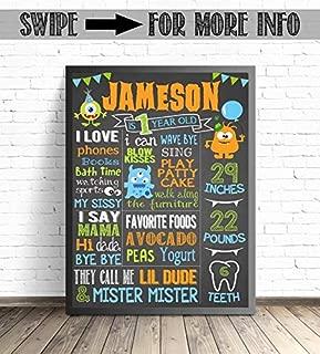 AprilLove Little Monster First Birthday Chalkboard Poster/Monster Party Decorations / 1st Birthday Milestone Sign/Custom First Birthday Printable/UNFRAMED Poster