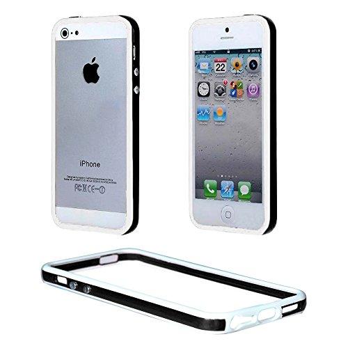 ebestStar - Bumper Cover Compatibile con iPhone SE 5S 5 Custodia Protezione Sottile Slim, Anti Shock Assorbimento Urti, Nero/Bianco [Apparecchio: 123.8 x 58.6 x 7.6mm, 4.0'']