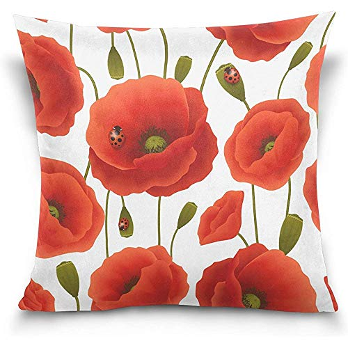 Moily Fayshow Federa da Cuscino Decorativa Federa Quadrata, Federa per Divano Letto Coccinella Fiore Papavero Rosso Federa da Cuscino 40 X 40 cm