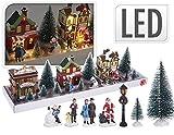 made2trade XXL 17-teiliges Weihnachtsdorf-Set mit LED Beleuchtung