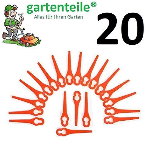20 Ersatz Messer passend für Güde RT 250/18 Li Ion Akku Rasentrimmer/Messer/Messerchen/Plastikmesser/Trimmermesser