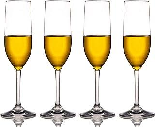 MICHLEY Copas de champán Irrompible, 100% Tritan-plástico romantico Vasos de champán, Libres de BPA, Aptos para Lavavajillas 17 cl Conjunto de 4