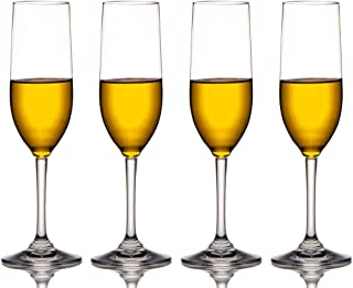 MICHLEY Unbreakable Champagne Flutes Glasses, 100% Tritan Plastic Wine Glasses, BPA-free, Dishwasher-safe 6 oz, Set of 4