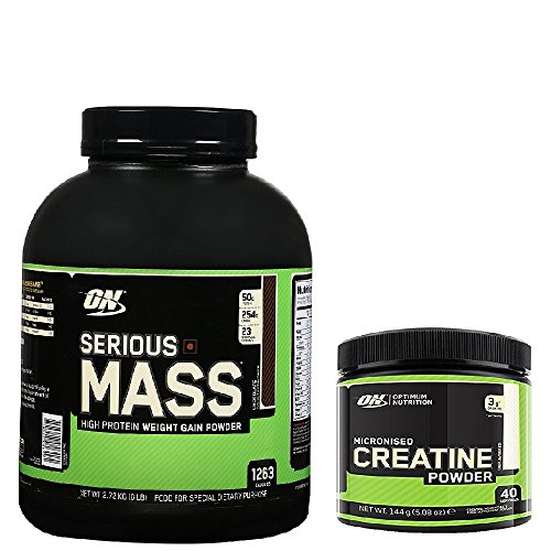 Optimum Nutrition Serious Mass Weight Gain Powder, Chocolate, 2.73 kg with a 144g Tub of Creatine