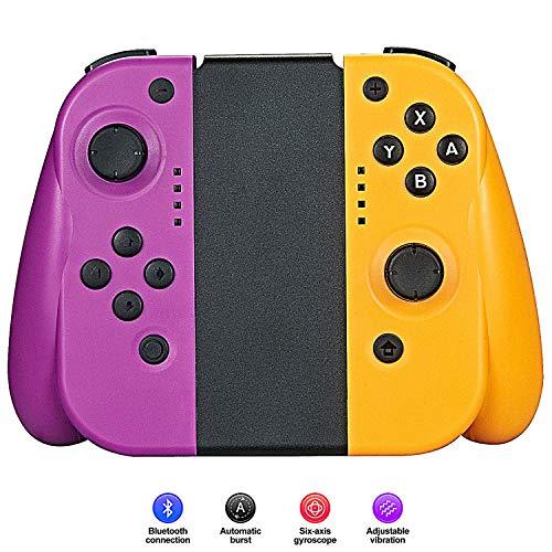 Adecuado para Nintendo Switch Jon-con Controller, Tener 6 Axis Gyro Doble Vibración Operación Precisa Sensible de Retroalimentación Gamepad (L/R),Compatible Joncon Joystick,Purple + Yellow