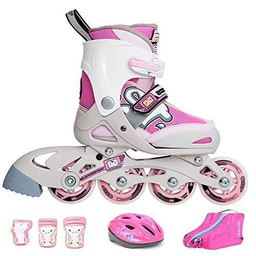 FACAIA Kids Inline Skates Einstellbare Größe, leichte Rollschuhe, professionelle Rollschuhe, Sicherheitspads für Jungen und Mädchen Skateset, dreifacher Schutz, B, S (7?10UK / 23?27EU)