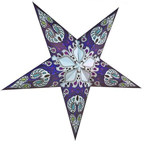 Quasimoon PaperLanternStore.com 24 Inch Blue Galaxy Paper Star Lantern, Hanging Decoration
