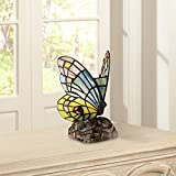 "7 1/2"" high overall. Wings are 5"" wide .Square base is 4"" wide. Uses one 25 watt halogen G9 (included); in-line on-off switch. With 81 pieces of hand-cut Tiffany-style glass; assembled using the copper foil technique. Butterfly small accent lamp from..."