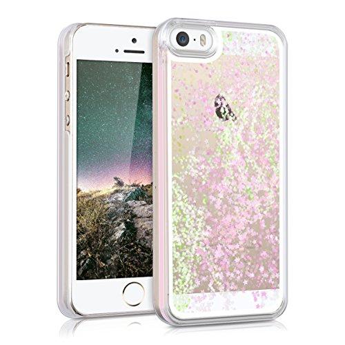 kwmobile Carcasa Compatible con Apple iPhone SE (1.Gen 2016) / 5 / 5S -Funda Agua Purpurina y Estrellas en Rosa Claro/Transparente