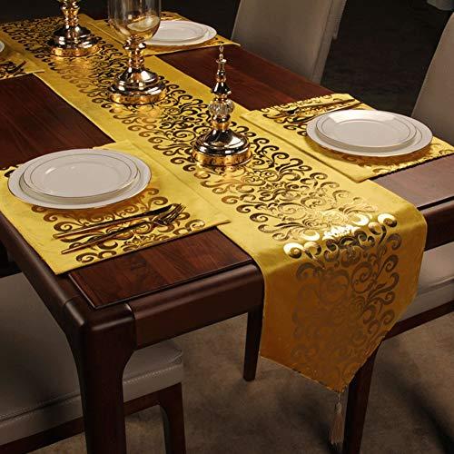 Gold Samt Tischläufer, European Bronzing Muster, Handgemachte Quaste Anhänger Tischdecke, Geeignet for Klavier |Ostern |Geburtstag |Geschenk |Hochzeit |Weihnachten | Party |Tanz |Halloween AAA++