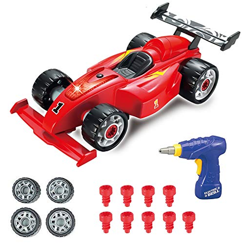 Pup Go F1 Construction Toy Racing Car - 24 Pieces with Realistic Sounds & Lights - 2 in 1 Easy Build Your Own Racing Car Kit with Electric Drill Tool - Take Apart Toys Gifts for 3 Years Old Boys Kids