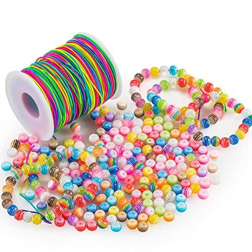 FORMIZON 300 Stück Bunte Perlen Zum Auffädeln und 100 M Elastisch Schnur, Acryl Rund Perlen Mehrfarbig Regenbogen Perlenschnur DIY Handwerk für Kinder Armbänder Schmuck Basteln Haarband