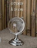 Mappamondo Globo in vetro 9 cm con base silver bomboniera