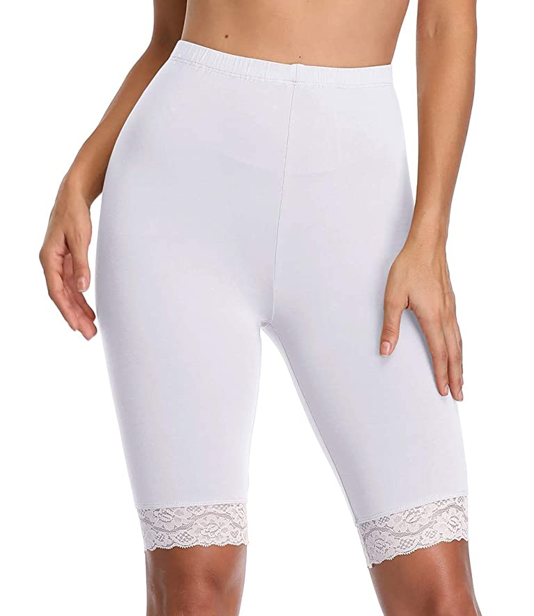 TEENTAGE Women's Mid Thigh Leggings Stretch Slip Shorts Under Dresses Plus Size