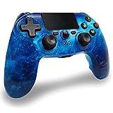 Mandos PS4 Inalambricos, Controlador PS4 Inalámbrico Dual Shock Gamepad de Doble Vibración SIX-AXIS con Touch Pad y Conector de Audio para PlayStation 4 / PS3 / PC (Universo Azul)