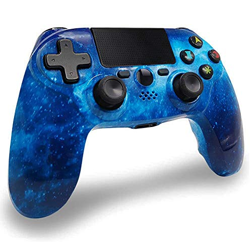 Mandos PS4 Inalambricos, Controlador de Juegos PS4 Inalámbrico Dual Shock Gamepad de Doble Vibración SIX-AXIS con Touch Pad y Conector de Audio para PlayStation 4 / PS3 / PC (Universo Azul)
