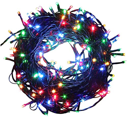 Fullbell 33ft Christmas LED Fairy Twinkle String Lights 100 LEDs with Controller for Chirstmas Tree,Garden,Patio,Multi Strings Connectable(Black Wire)(Multi-Color)